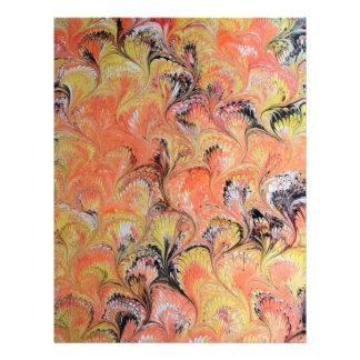 Marbled Orange and Black Scrapbook Paper Letterhead