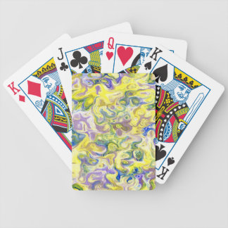 marbled paper oil paint art bicycle playing cards