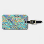 marbled paper pattern luggage tag