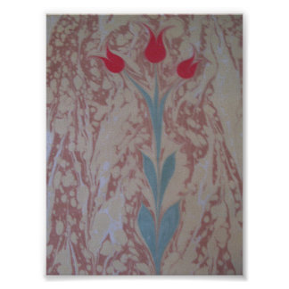 Marbled paper three tulip posters