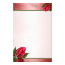 Marbled Pink Red Blooms Stationery