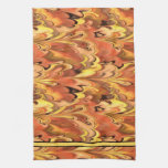 Marbled Rainbow Swirled Rust & Gold Hand Towels