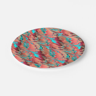 Marbled Rainbows Turquoise Rose and Peach Paper Plate