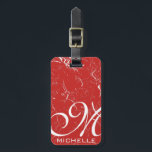 """Marbled Red Script Monogrammed Luggage Tag<br><div class=""""desc"""">marbled custom luggage tag with leather strap: large script monogram and name</div>"""