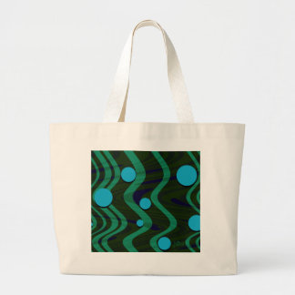 Marbled Retro Blue Green Dot Wave Large Tote Bag