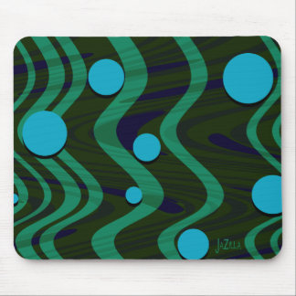 Marbled Retro Blue Green Dot Wave Mouse Pad