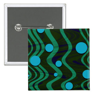Marbled Retro Blue Green Dot Wave Pinback Button
