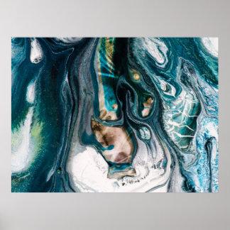 Marbled Teal Abstact Ocean Art Poster