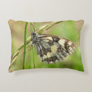 Marbled White Butterfly on Grass Accent Pillow