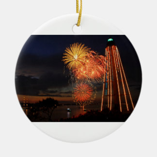 Marblehead Fireworks Lighthouse Ceramic Ornament
