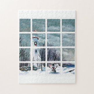Marblehead Lighthouse in Winter Jigsaw Puzzle