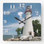Marblehead Lighthouse Square Wallclock