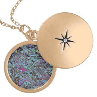 Marbleized Swirls of Black Yellow Pink Blue Etc. Locket Necklace