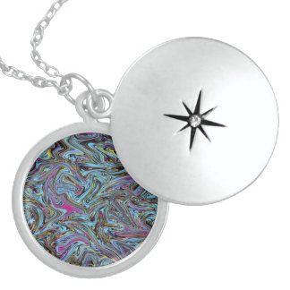 Marbleized Swirls of Black Yellow Pink Blue Etc. Sterling Silver Necklace