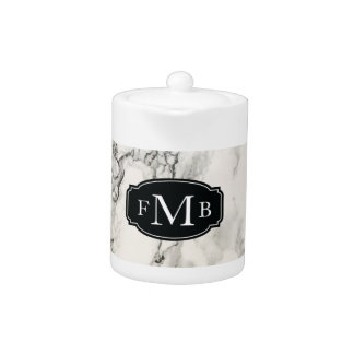 Marbleous Marble with Tripple Monogram Teapot
