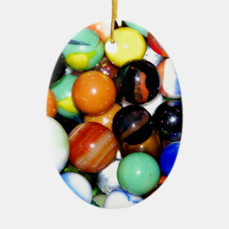 Marbles Double-Sided Oval Ceramic Christmas Ornament