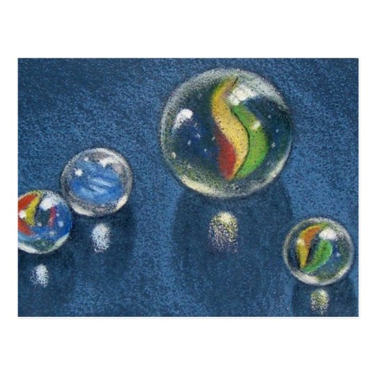 MARBLES IN COLOR PENCIL POSTCARD