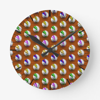 Marbles on floor boards round clock