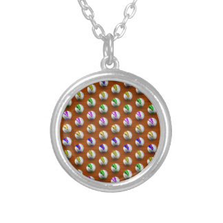 Marbles on floor boards silver plated necklace