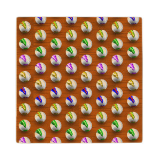Marbles on floor boards wooden coaster
