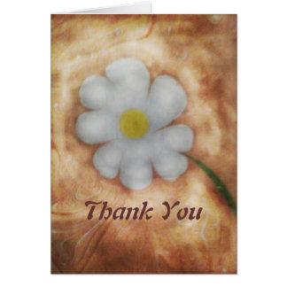 Marbling art daisy thank you greeting card