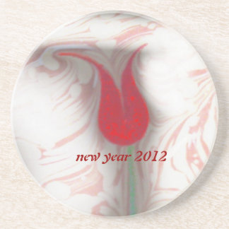 marbling art red tulip new year 2012 Coaster