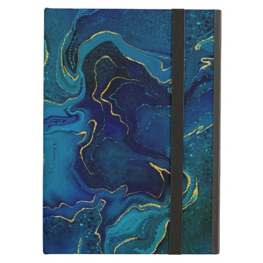 Marbling blue golden design case for iPad air