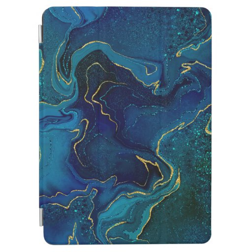 Marbling golden blue design iPad air cover
