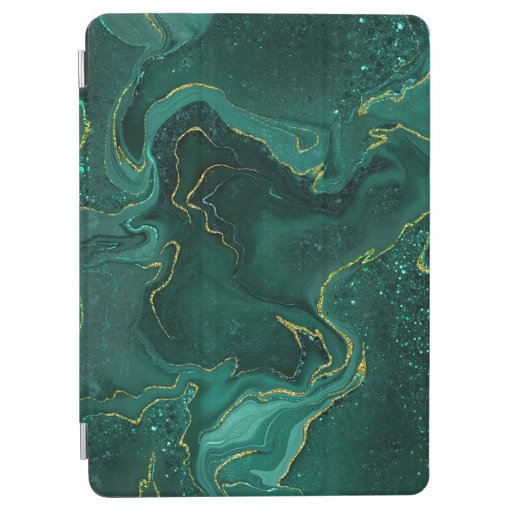 Marbling golden green design iPad air cover