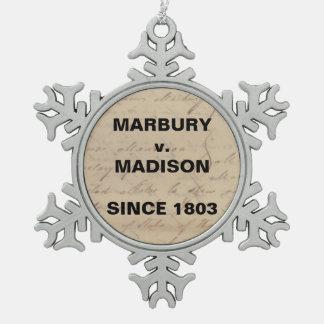Marbury Madison Checks and Balances Snowflake Snowflake Pewter Christmas Ornament