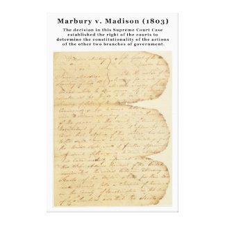 Marbury v. Madison, 5 U.S. 137 (1803) Canvas Print