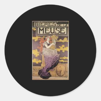 Marc Auguste Bastard Bieres De La Meuse Classic Round Sticker