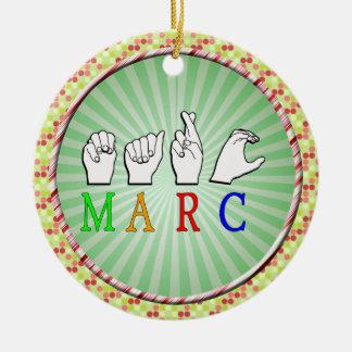 MARC FINGERSPELLED ASL NAME SIGN CERAMIC ORNAMENT
