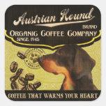 Marca austríaca del perro - Organic Coffee Company Pegatina Cuadrada
