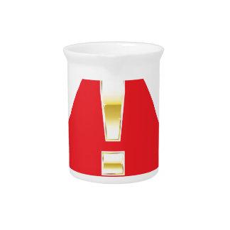 Marca de la atención del oro en la precaución roja jarra para bebida