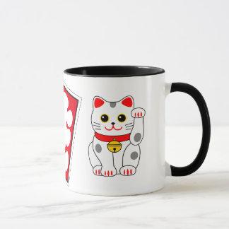 Marca de la casa llena y gatos japoneses el tentar taza