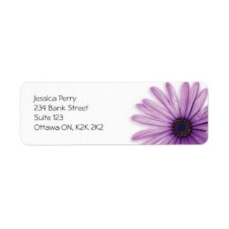 Marca de la flor - púrpura etiqueta de remite