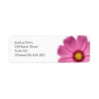 Marca de la flor - rosa etiqueta de remite