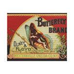 Marca de la mariposa de la etiqueta del vintage de impresión en tela