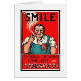 """Marca de la """"sonrisa"""" del consumo de tabaco del vi tarjeta de felicitación"""