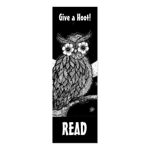 Marca de libro de medianoche del búho tarjetas de visita mini