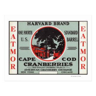 Marca de los arándanos de Cape Cod Harvard Eatmor Tarjetas Postales