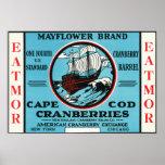 Marca de los arándanos de Cape Cod Mayflower Eatmo Póster