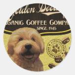 Marca de oro del Doodle - Organic Coffee Company Etiquetas Redondas