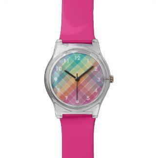 Marca de rayitas cruzadas colorida de Muliticolor Relojes De Mano