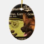 Marca de Sheperd del alemán - Organic Coffee Compa Adorno De Navidad