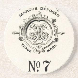 Marca del boticario del vintage, número 7 posavasos cerveza