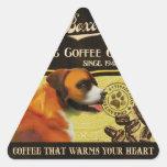 Marca del boxeador - Organic Coffee Company Calcomanía De Triangulo