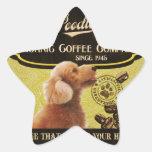 Marca del caniche - Organic Coffee Company Pegatina En Forma De Estrella