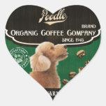 Marca del caniche - Organic Coffee Company Pegatina En Forma De Corazón
